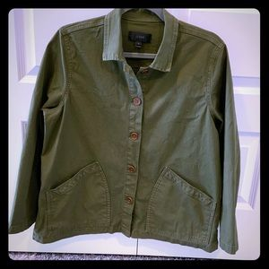 J Crew Cropped Chino Swing Jacket in Olive